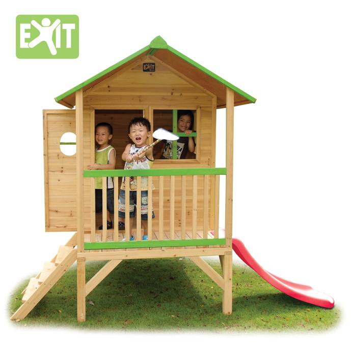 Kinder spielhaus exit loft 300 kinderspielhaus ebay - Cabane en bois avec toboggan ...