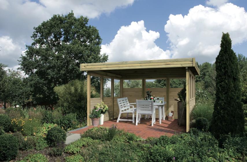 pavillon komplettset karibu f lachdach 3 holz pavillon ebay. Black Bedroom Furniture Sets. Home Design Ideas