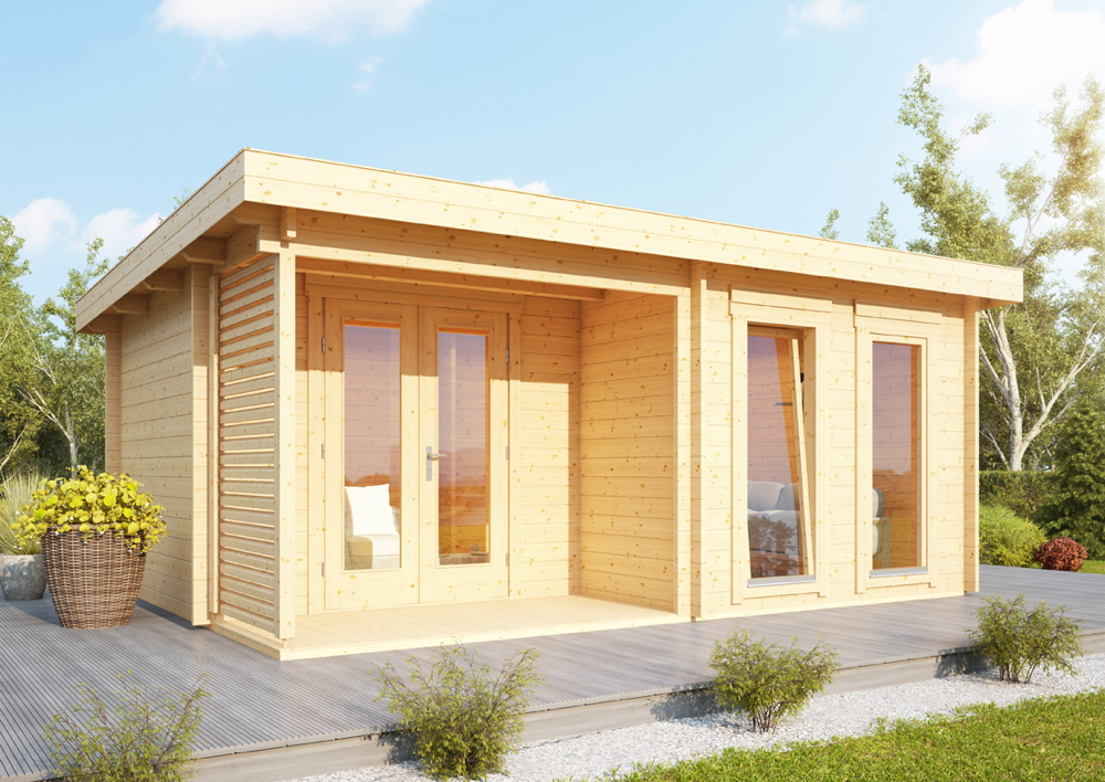Bekannt Gartenhaus Flachdach «540x390cm Holzhaus Bausatz 44mm Wandstärke US41