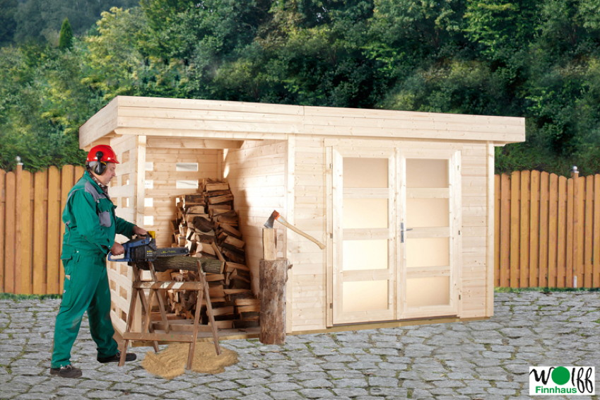 gartenhaus flachdach kombihaus kalle mit holzlagerplatz ebay. Black Bedroom Furniture Sets. Home Design Ideas