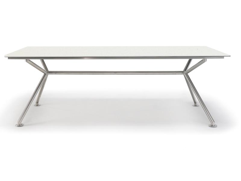 Gartentisch SOLPURI «MATRIX Edelstahl 220x100cm» Keramikplatte white