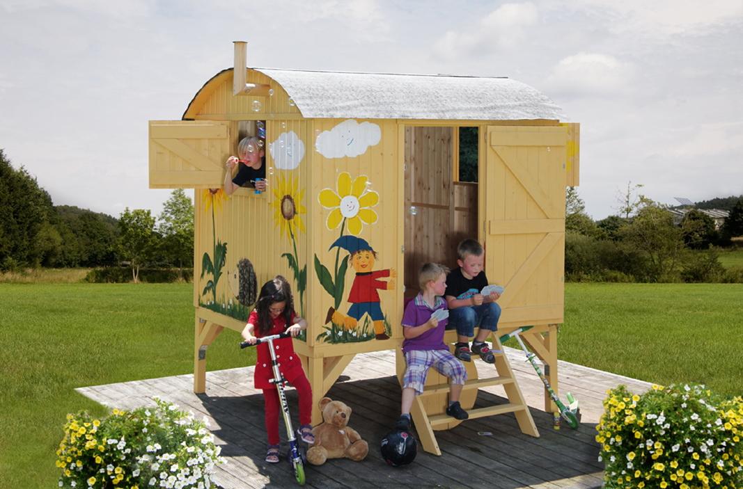 Kinder Spielhaus Schaferwagen Paul Holz Stelzenhaus Ebay