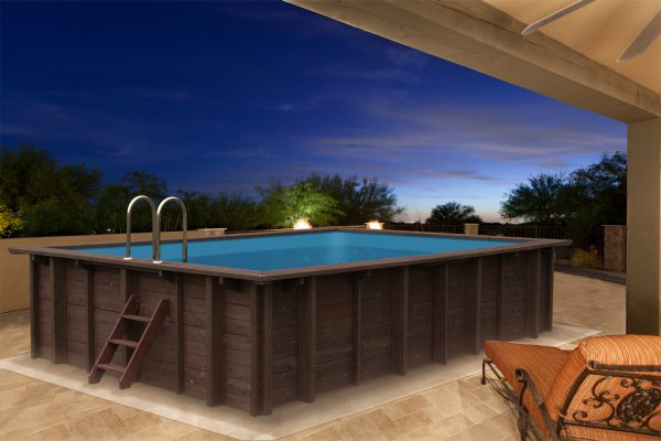 Holzpool Blockbohlen Bausatz 6x4m Schwimmbecken Swimmingpool