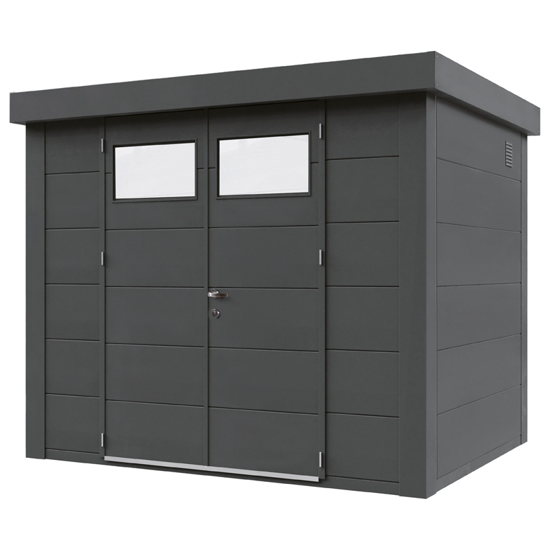 geratehaus-flachdach-metallgeratehaus-268x208-granitgrau-doppeltur