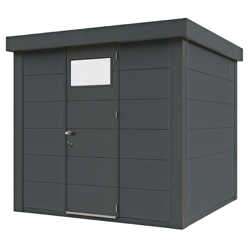geratehaus-flachdach-metallgeratehaus-238x238-granitgrau-einzeltur-eleganto-inkl-seitlichen-anb