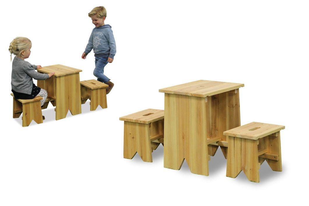 Kinder Holz Gartenbank «Picknick Set Größe L» Kinder Sitzgruppe Kinderbank