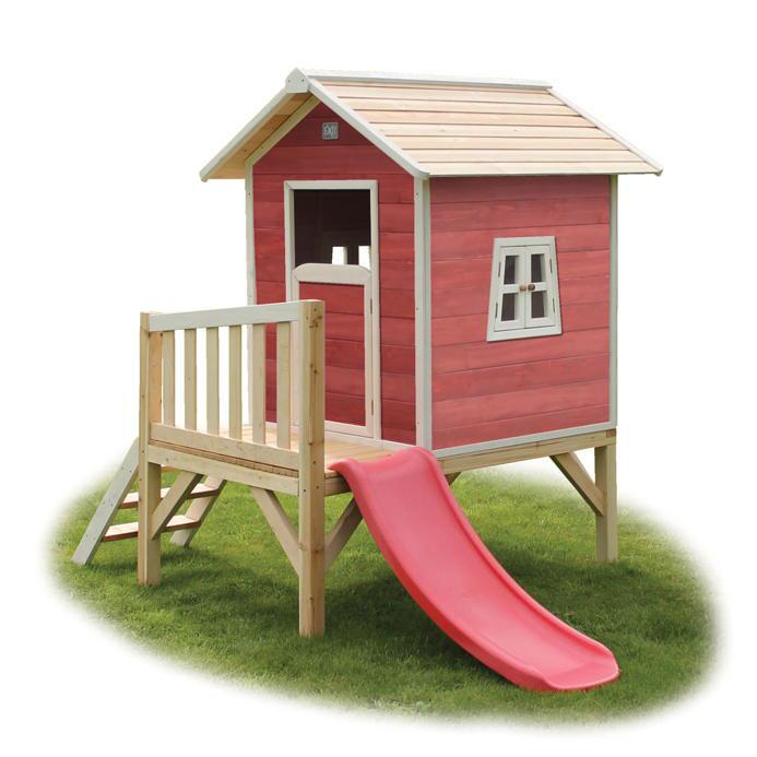Kinder Spielhaus EXIT «Beach 300» Kinderspielhaus Stelzenhaus Holz Rotbraun