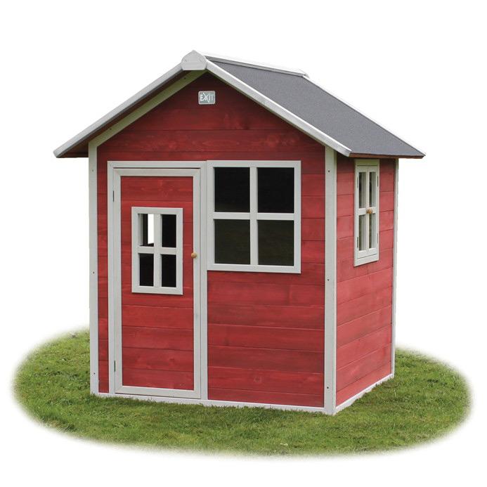 Holz Kinder Spielhaus Klein Kinderspielhaus Holzhaus Rot Gebeizt Tur