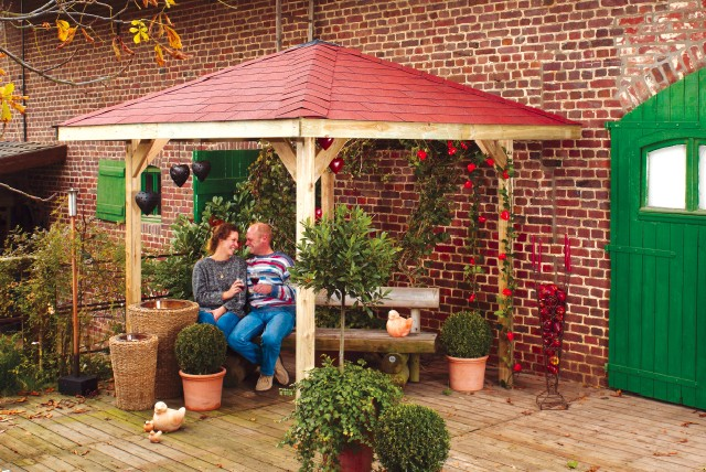 Pavillon weka paradies 1 gr e 1 4 eck holz pavillon - Cenadores de jardin alcampo ...