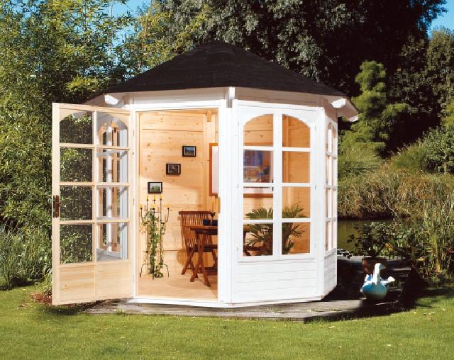 romantischer holz pavillon 8 eck gartenpavillon 3m mit. Black Bedroom Furniture Sets. Home Design Ideas
