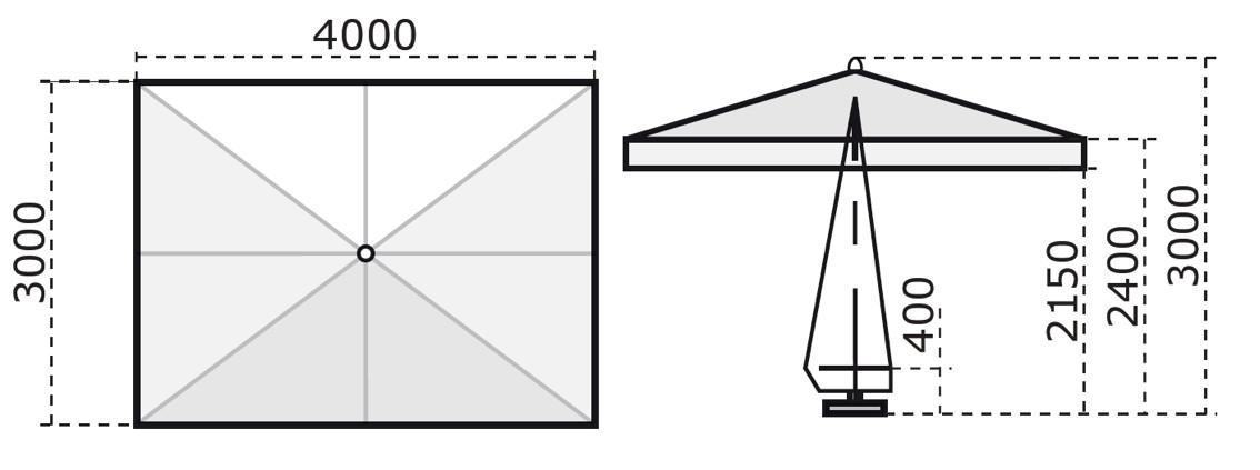 sonnenschirm scolaro palladio standard 3x4 stockschirm ebay. Black Bedroom Furniture Sets. Home Design Ideas