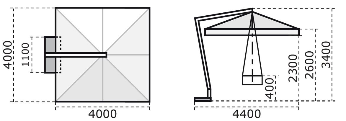 sonnenschirm scolaro leonardo braccio 4x4 ampelschirm ebay. Black Bedroom Furniture Sets. Home Design Ideas