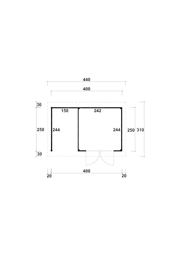 gartenhaus flachdach kombihaus kalle mit holzlagerplatz ebay. Black Bedroom Furniture Sets. Home Design Ideas