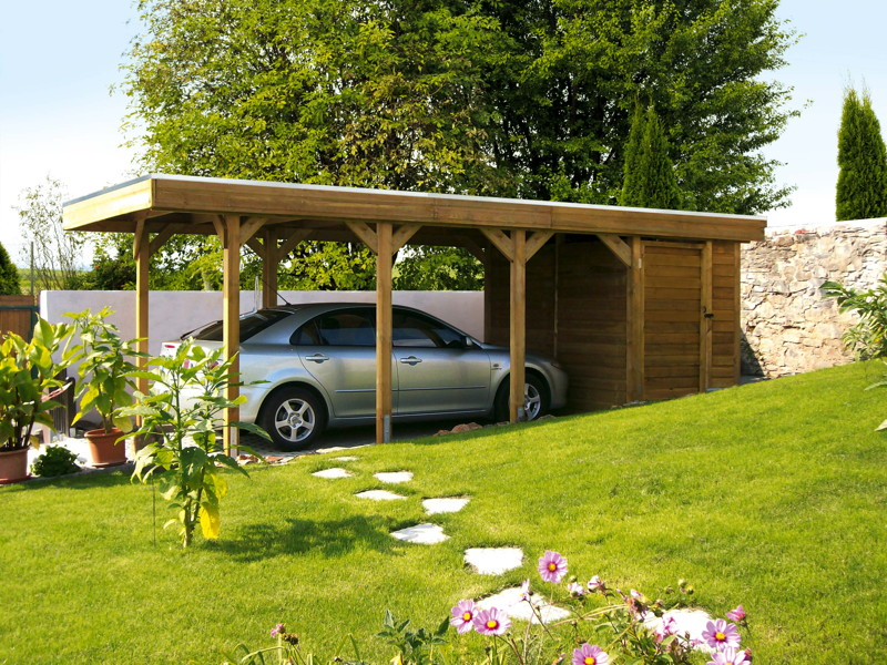 holz carport bausatz skanholz friesland flachdach einzelcarport carports aus holz g nstig. Black Bedroom Furniture Sets. Home Design Ideas