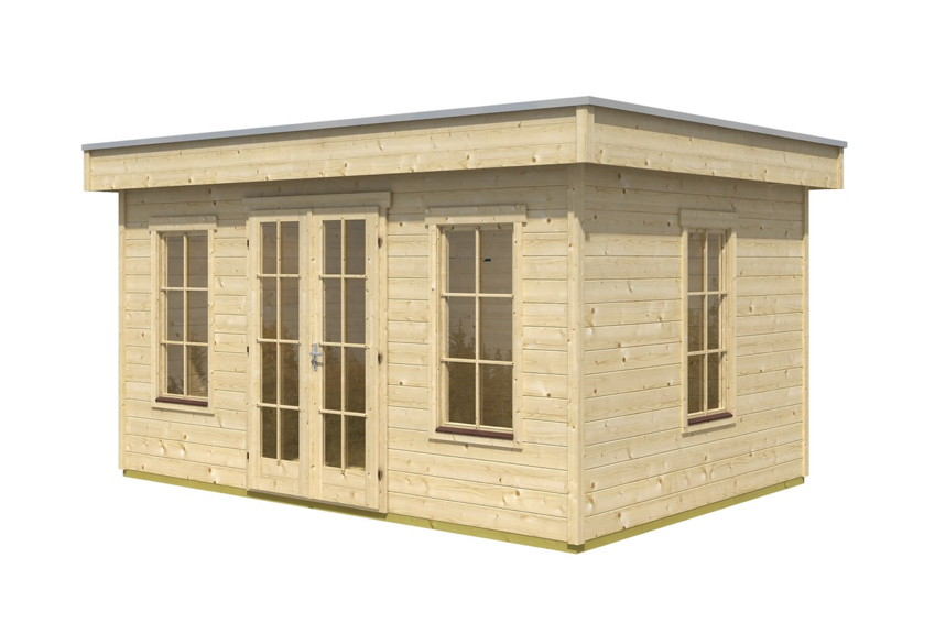 flachdach gartenhaus skanholz basel 45plus mit panorama. Black Bedroom Furniture Sets. Home Design Ideas