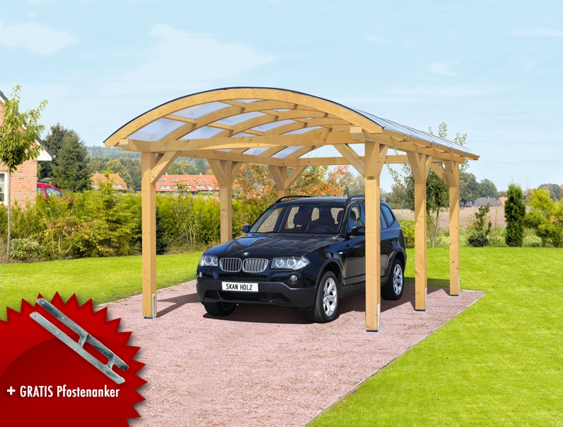 holz carport bausatz skanholz franken durchsichtiges runddach einzelcarport kaufen holz haus. Black Bedroom Furniture Sets. Home Design Ideas