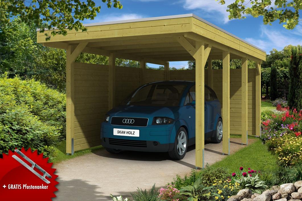 Holz carport skanholz schwaben runddach einzelcarport holz for Carport bausatz kaufen