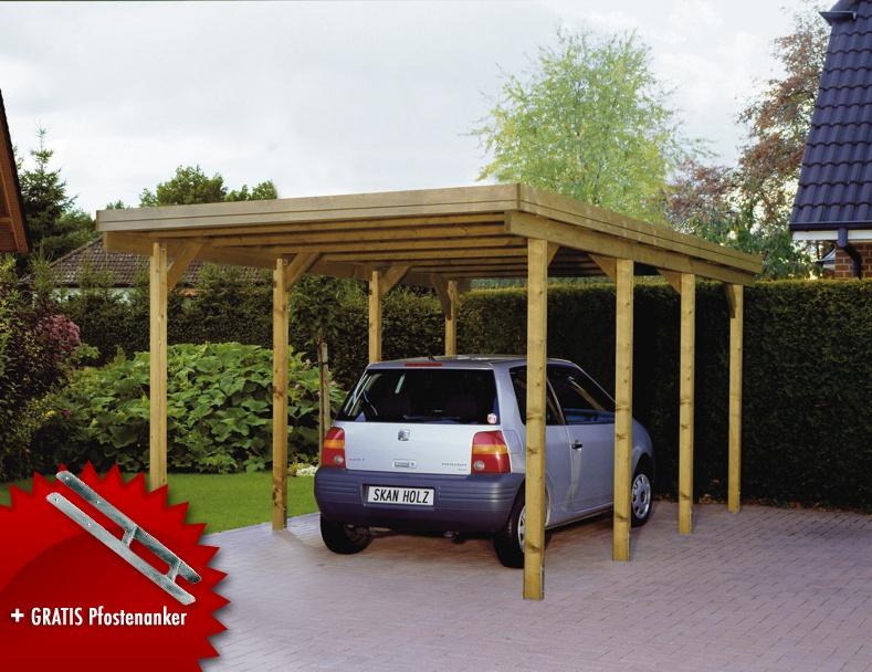 Holz carport skanholz «lausitz flachdach einzelcarport