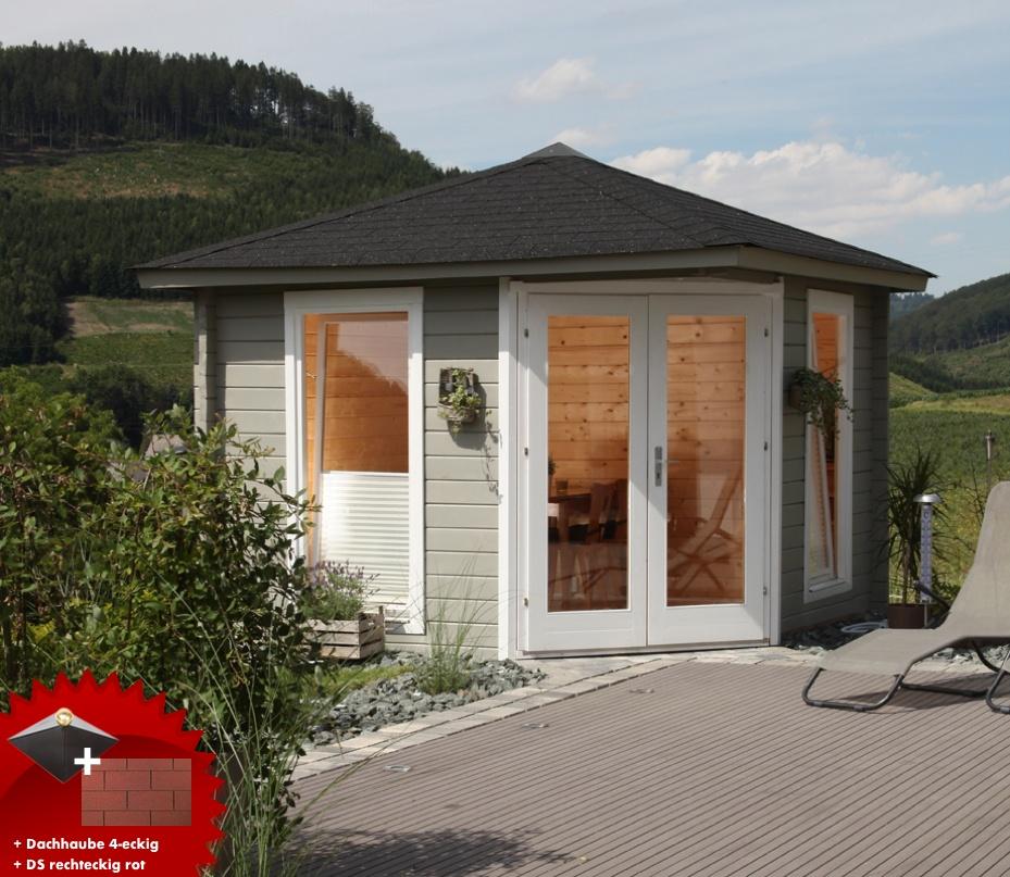 5 eck gartenhaus 300x300cm holzhaus bausatz 44mm doppelt r dachschindeln rot vom garten. Black Bedroom Furniture Sets. Home Design Ideas