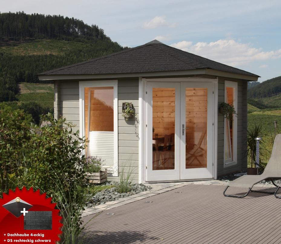 5-eck-gartenhaus-300x300cm-holzhaus-bausatz-44-doppeltur-dachschindeln-schwarz