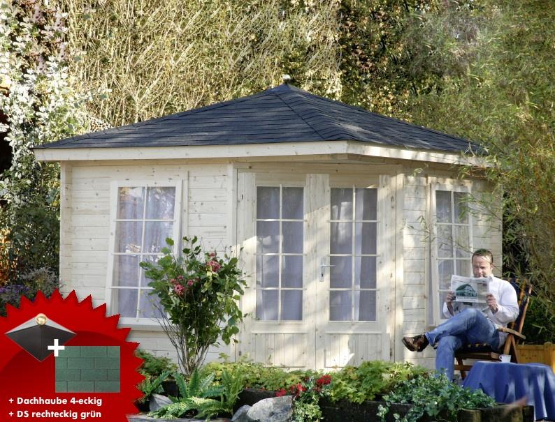 5 eck gartenhaus 299x299cm holzhaus bausatz doppelt r dachschindeln gr n vom garten fachh ndler. Black Bedroom Furniture Sets. Home Design Ideas