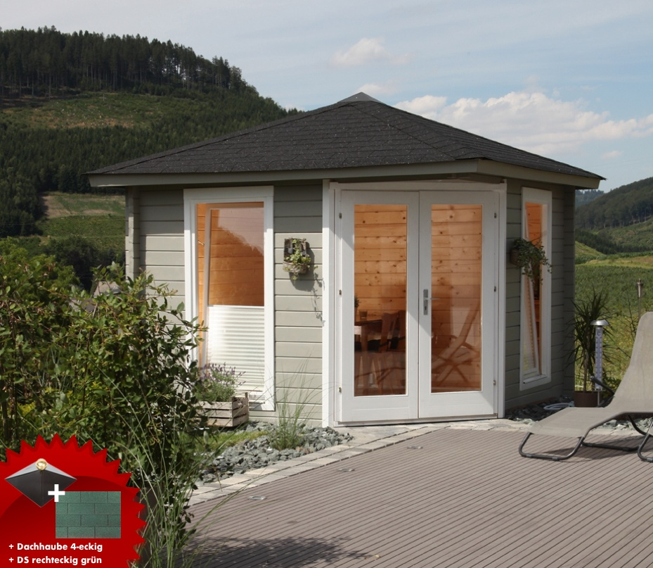 5-eck-gartenhaus-300x300cm-holzhaus-bausatz-44mm-doppeltur-dachschindeln-grun