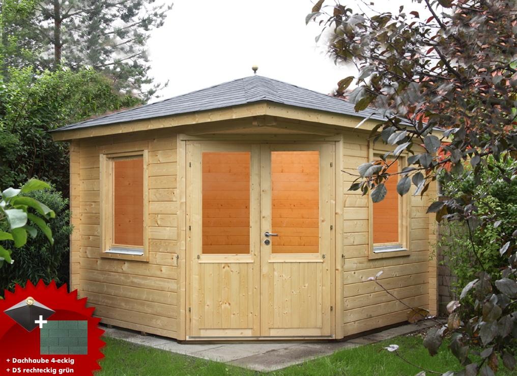 5-eck-gartenhaus-300x300cm-holzhaus-bausatz-doppeltur-dachschindeln-grun