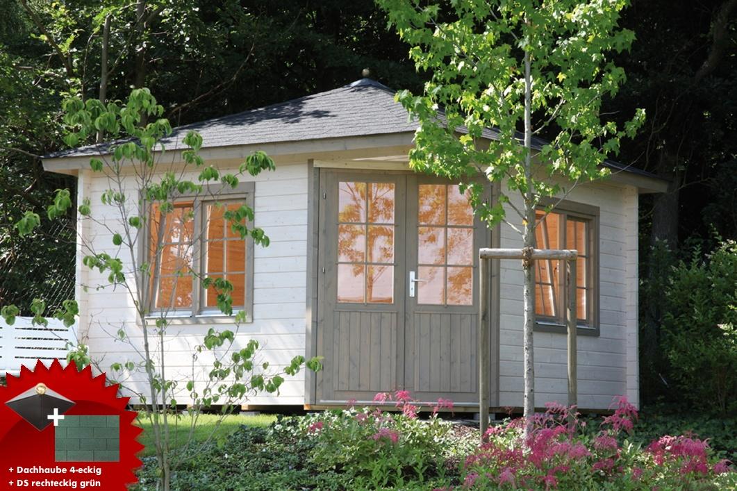 5-eck-gartenhaus-360x360cm-holzhaus-bausatz-doppeltur-dachschindeln-grun
