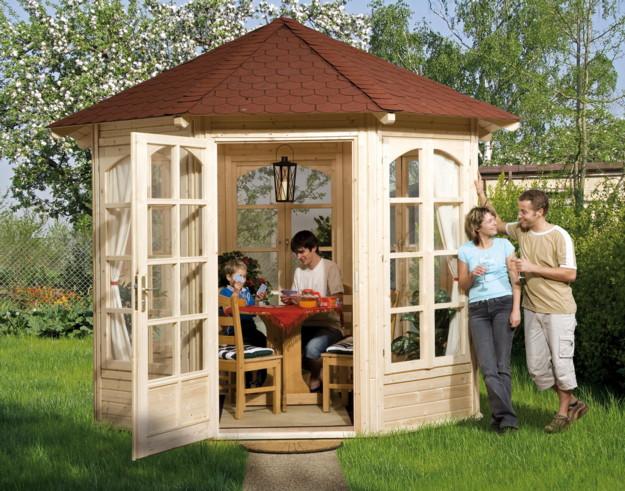 pavillon holz gartenlaube 4 eck gartenpavillon flachdach mit sichtschutzw nden holz. Black Bedroom Furniture Sets. Home Design Ideas