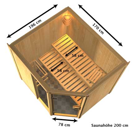 heimsauna karibu fiona 2 eckeinstieg sauna. Black Bedroom Furniture Sets. Home Design Ideas