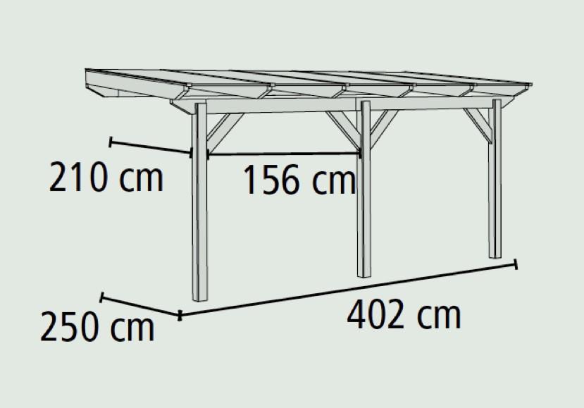 TerrassenUberdachung Holz Leer ~ Sie erhalten die Terrassenüberdachung in der Größe B 402 x T 250 cm