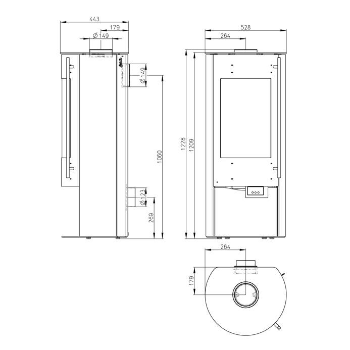 Holz HaustUr Technische Zeichnung ~ Kamin Ofen OLSBERG «Merapi Compact» Cheminée  Kaminofen, Kamine