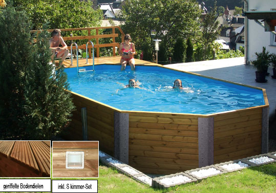 holzpool weka korfu schwimmbecken aus holz ebay. Black Bedroom Furniture Sets. Home Design Ideas