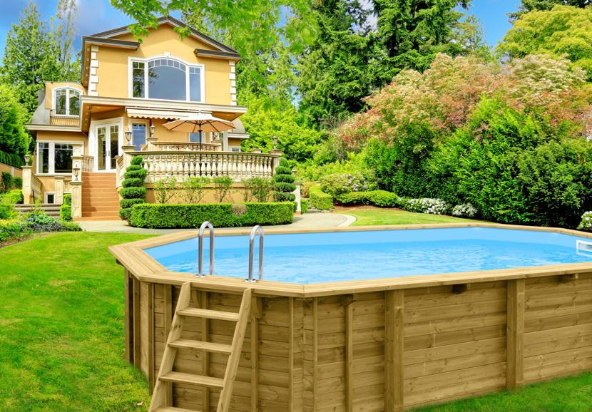 Holzpool ovales schwimmbecken 6x4m 8 eck pool swimmingpool for Gartenpool versenkt