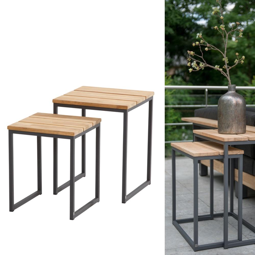 Gartentisch 4seasons essence beistelltisch 2er set for Beistelltisch 45x45