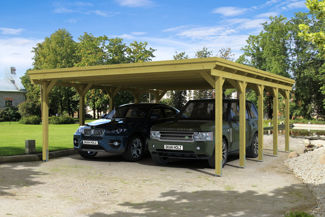holz carport skanholz holstein flachdach doppelcarport holz angebot. Black Bedroom Furniture Sets. Home Design Ideas