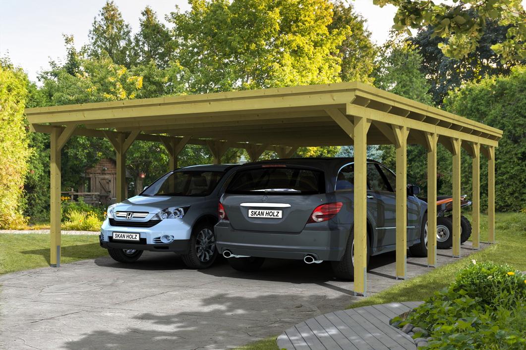Holz carport skanholz holstein flachdach doppelcarport for Landesbauordnung schleswig holstein carport