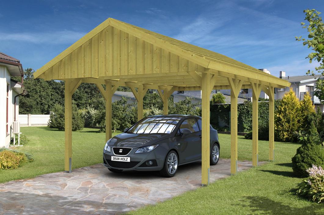 holz carport skanholz sauerland einzelcarport mit dachlattung satteldach holz angebot. Black Bedroom Furniture Sets. Home Design Ideas