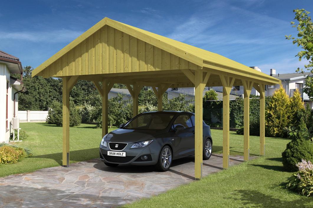 holz carport skanholz sauerland einzelcarport mit dachschalung satteldach carports aus holz. Black Bedroom Furniture Sets. Home Design Ideas
