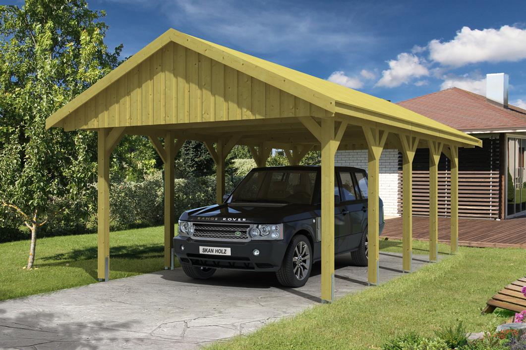 holz carport skanholz sauerland einzelcarport mit dachschalung satteldach holz angebot. Black Bedroom Furniture Sets. Home Design Ideas