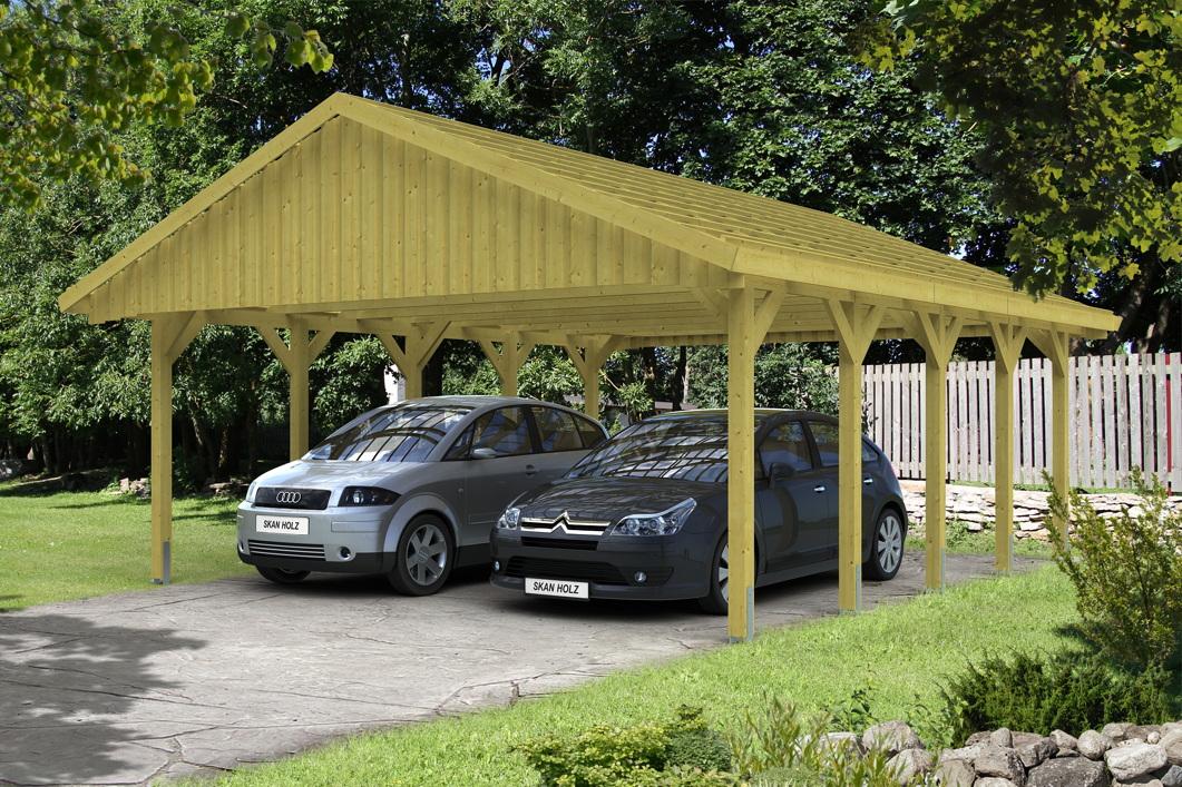holz carport skanholz sauerland doppelcarport mit dachlattung satteldach carports aus holz. Black Bedroom Furniture Sets. Home Design Ideas