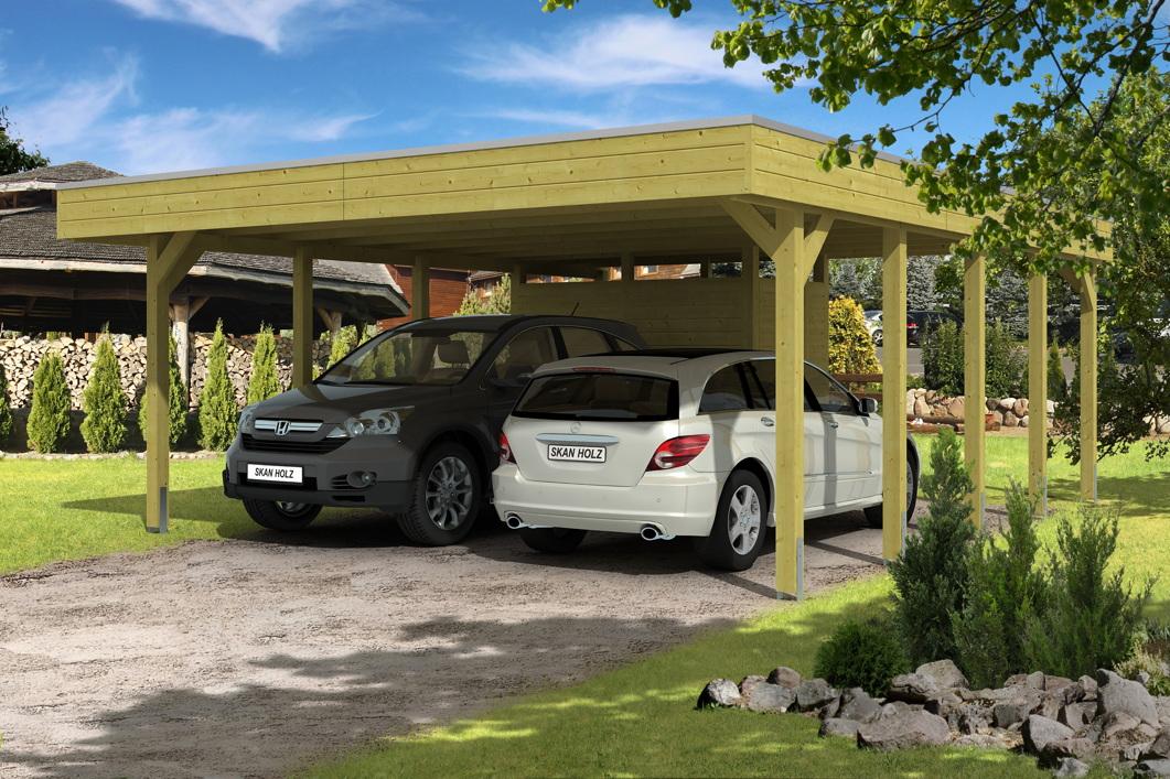 holz carport bausatz skanholz friesland aluminiumdach doppelcarpot mit zubeh r. Black Bedroom Furniture Sets. Home Design Ideas