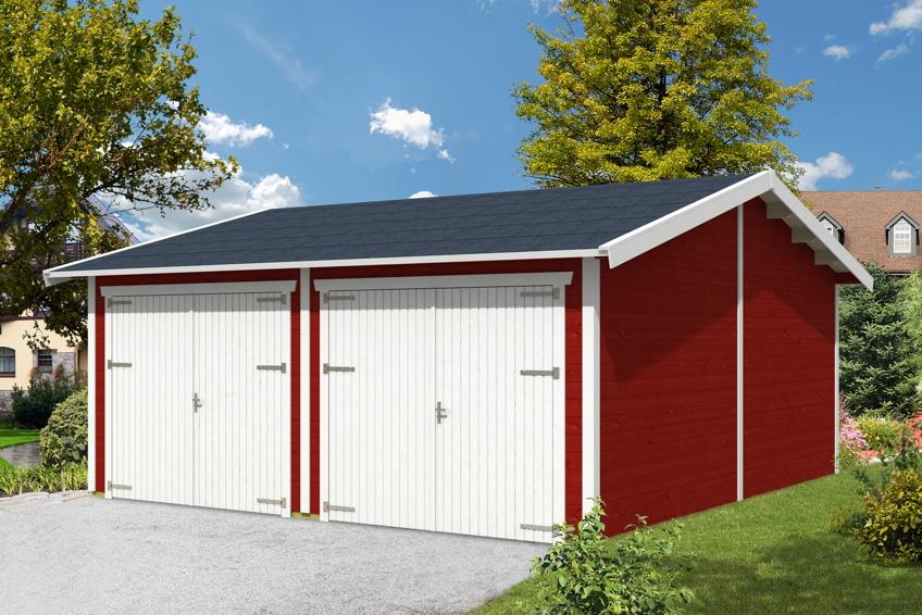 garage skanholz mora 2 doppelgarage 45 mm holzgarage bausatz garagen aus holz g nstig. Black Bedroom Furniture Sets. Home Design Ideas
