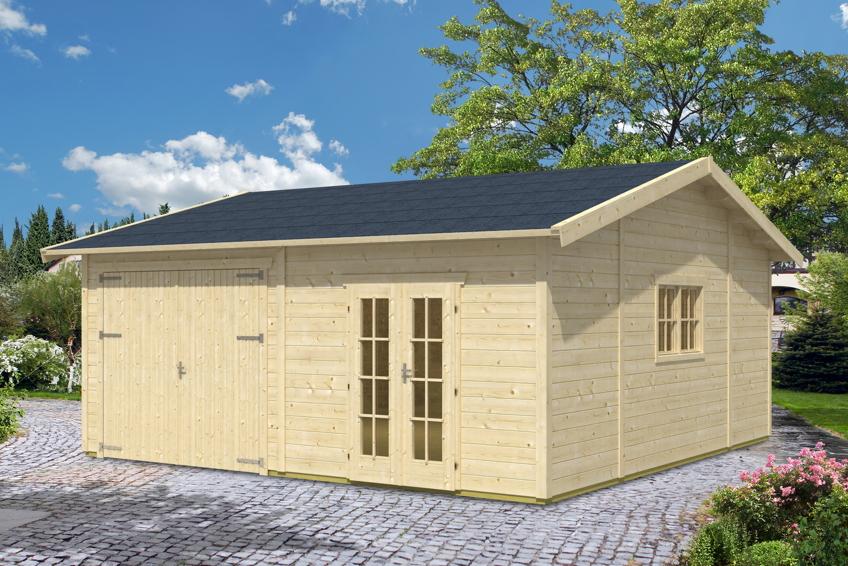 garage skanholz mora 2 doppelgarage 45 mm holzgarage. Black Bedroom Furniture Sets. Home Design Ideas