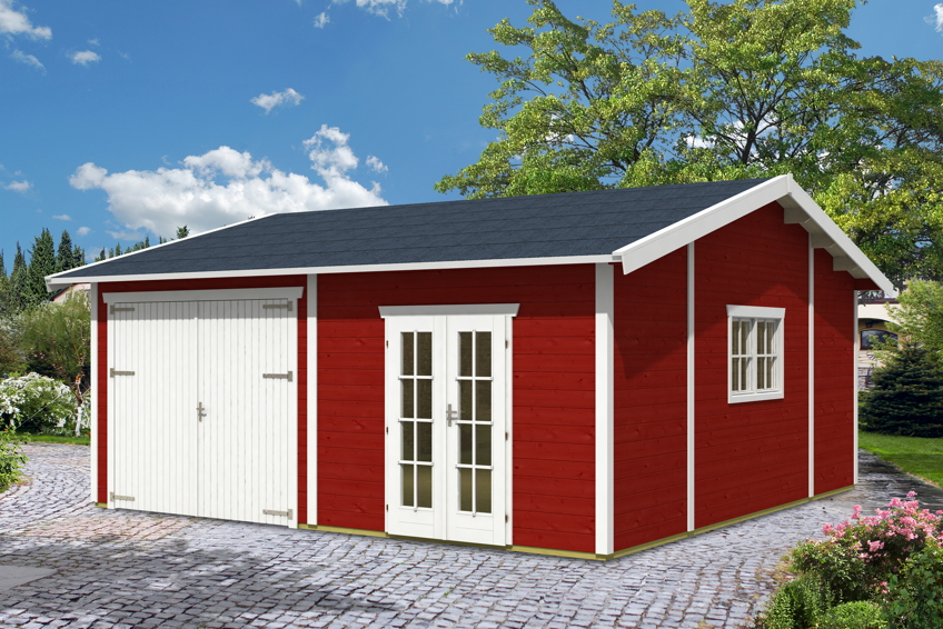 Fertiggarage holz bausatz  Garage SKANHOLZ «Mora 2» Doppelgarage (45 mm) Holzgarage Bausatz ...