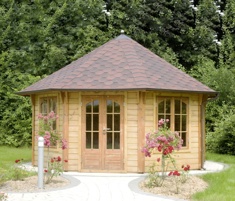 premium holzpavillon gartenpavillon geschlossen romant landhausstil pavillon garten. Black Bedroom Furniture Sets. Home Design Ideas