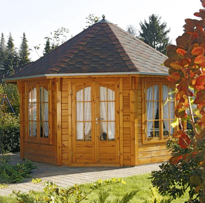 holz pavillon 8 eck gartenpavillon 4m im landhausstil. Black Bedroom Furniture Sets. Home Design Ideas