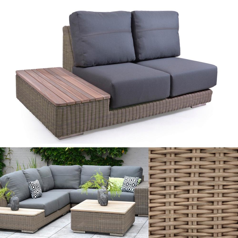 Gartenbank 4Seasons «Kingston PURE» 2er Sofa, Teakablage rechts, Loungeelement