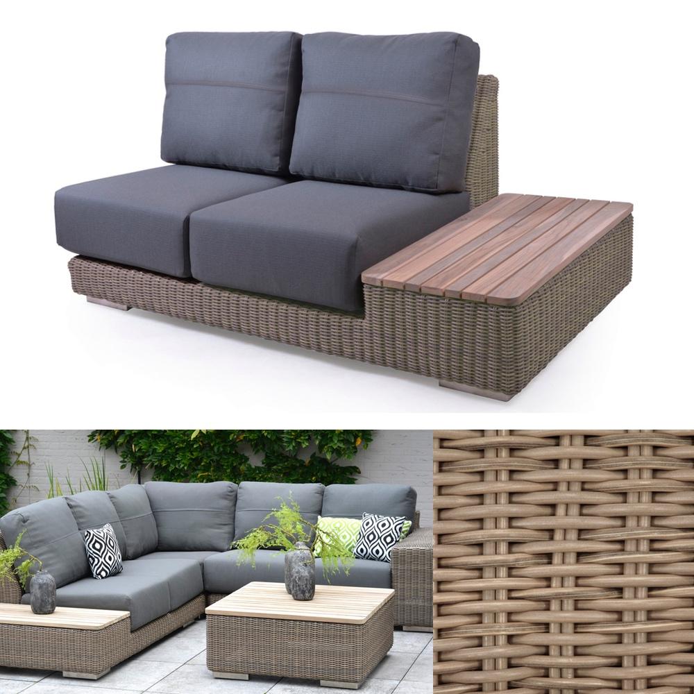 Gartenbank 4Seasons «Kingston PURE» 2er Sofa, Teakablage links, Loungeelement
