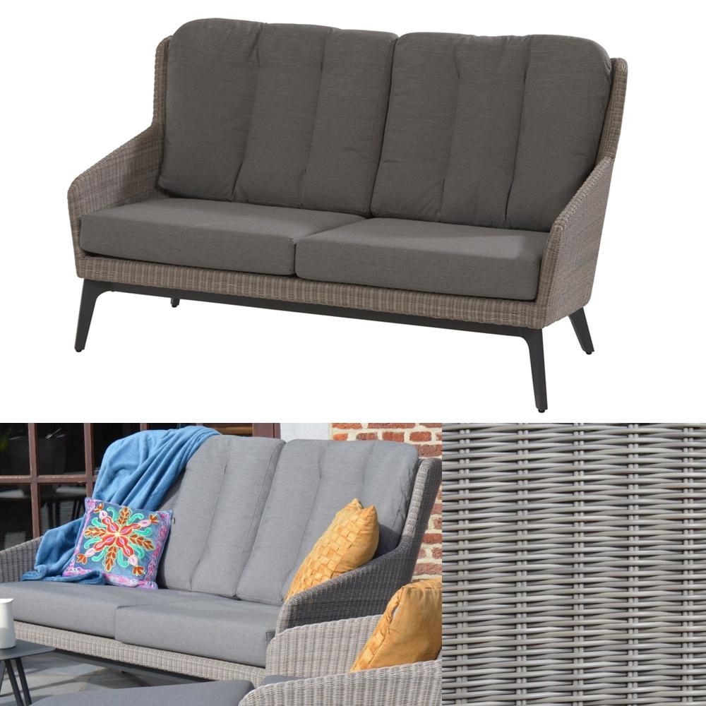 gartenbank 4seasons luxor polyloom pepple lounge 2er sofa polyrattan kissen gartenm bel. Black Bedroom Furniture Sets. Home Design Ideas